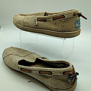 Toms size 5 kids tan slip on with leather straps